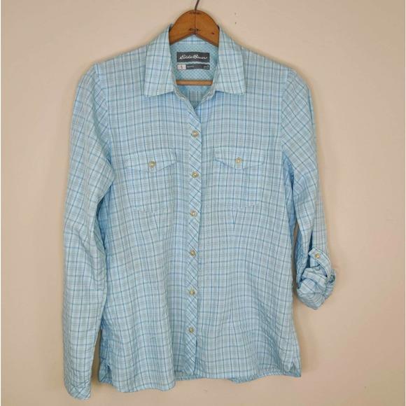 Eddie Bauer Travex Blue Outdoor Button Up Shirt